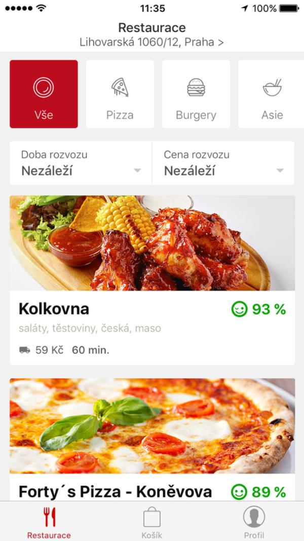 Nová verze aplikace DámeJídlo.cz přináší mapu oblíbených míst i uložení platební metody.