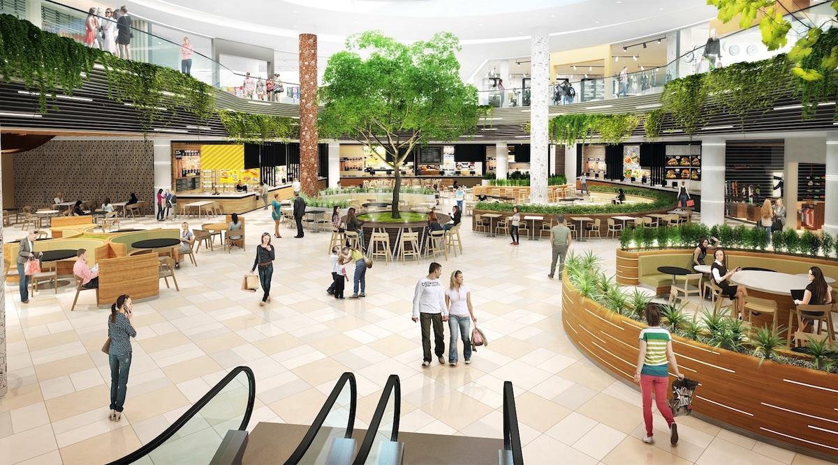 Zmodernizovaný food court v Obchodním centru Letňany