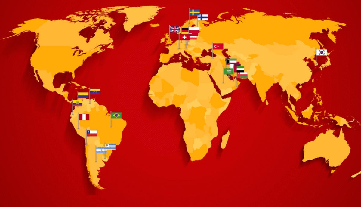 Mapa zemí, kde momentálně Foodpanda působí. Zdroj: techcrunch.com