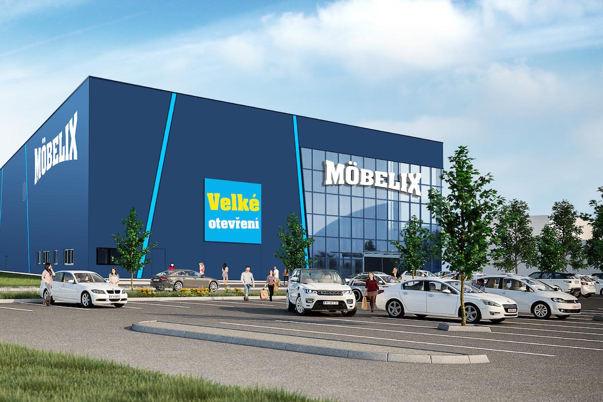 Vizualizace zmodernizované prodejny značky Möbelix v pražských Vysočanech