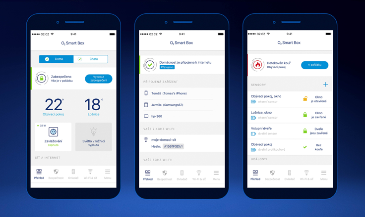 Ovládání funkcí přes mobilní aplikaci
