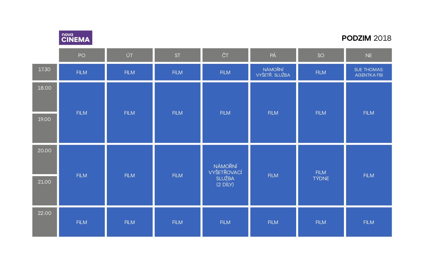 Programové schéma kanálu Nova Cinema, podzim 2018