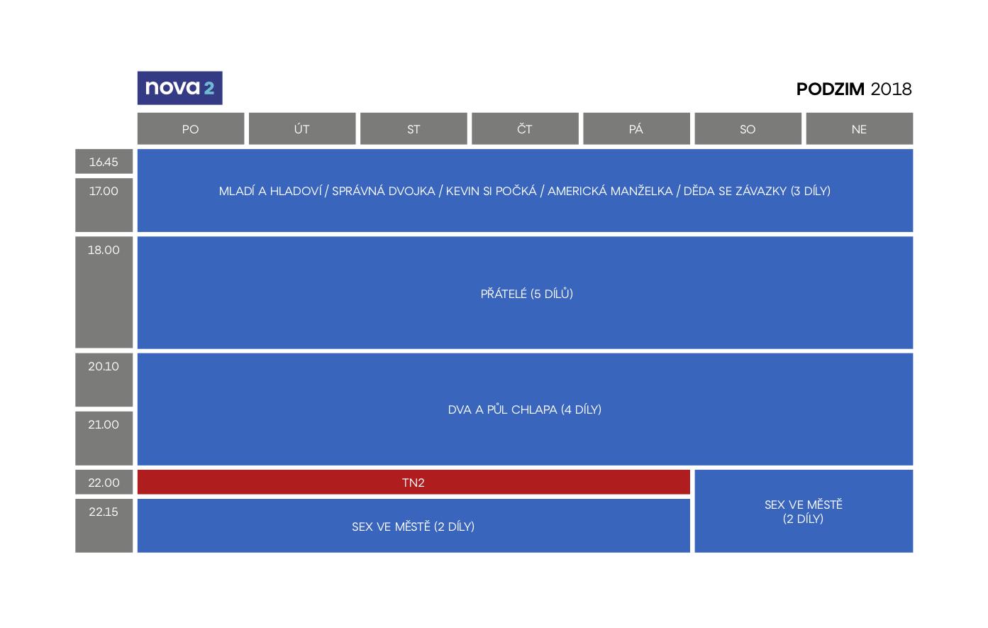 Programové schéma kanálu Nova 2, podzim 2018