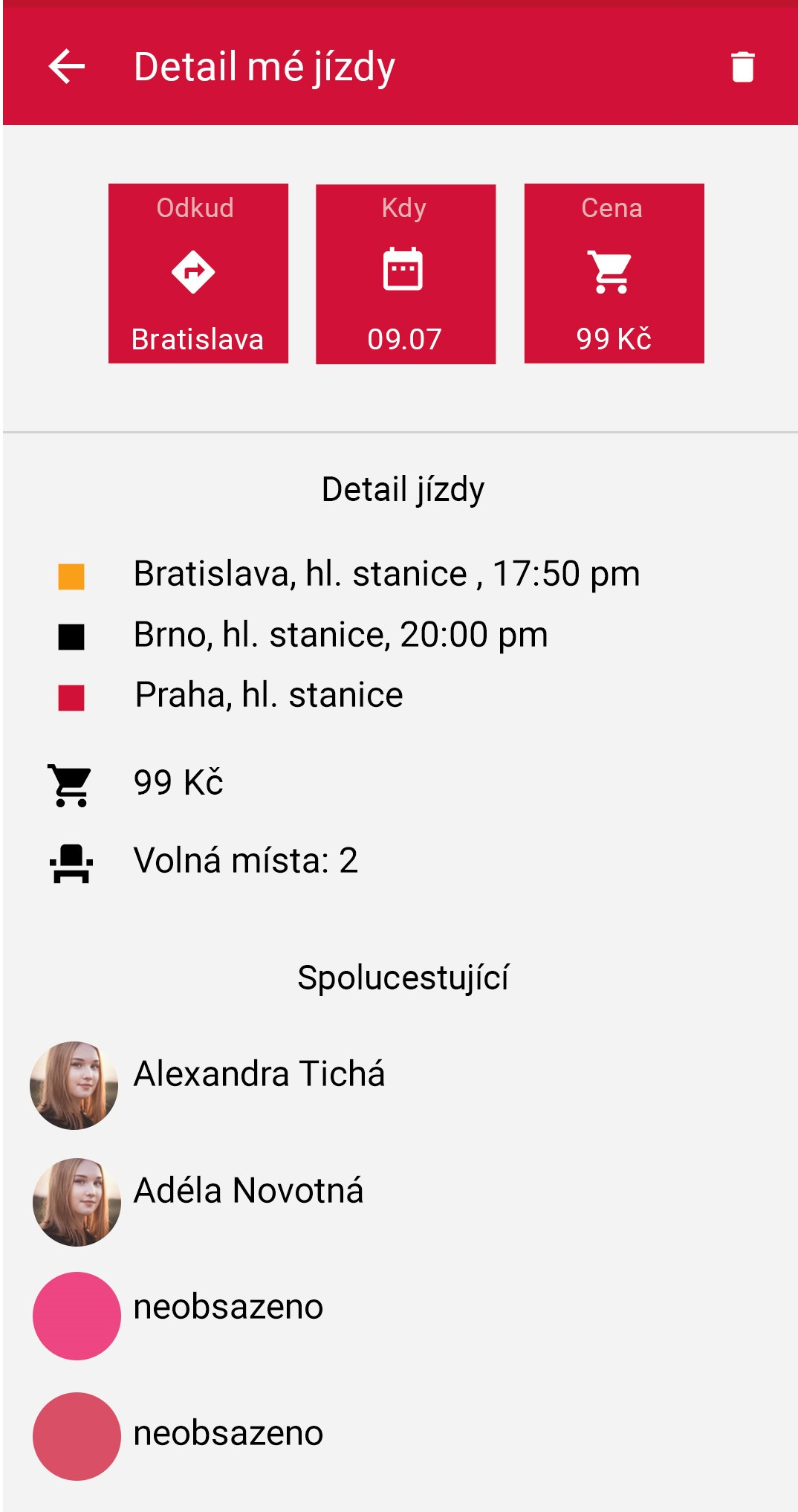 Podobně jako u jiných sdílených služeb nabízí aplikace kompletní přehled zvolené jízdy