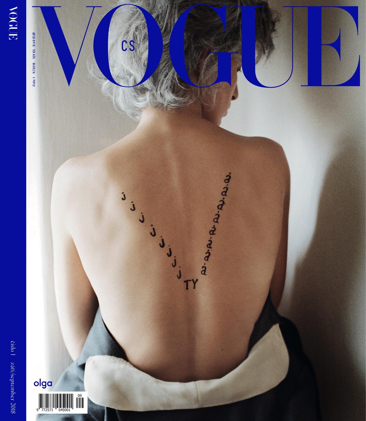 Obálka prvního čísla Vogue CS: modelka Karolína Kurková jako Olga Havlová