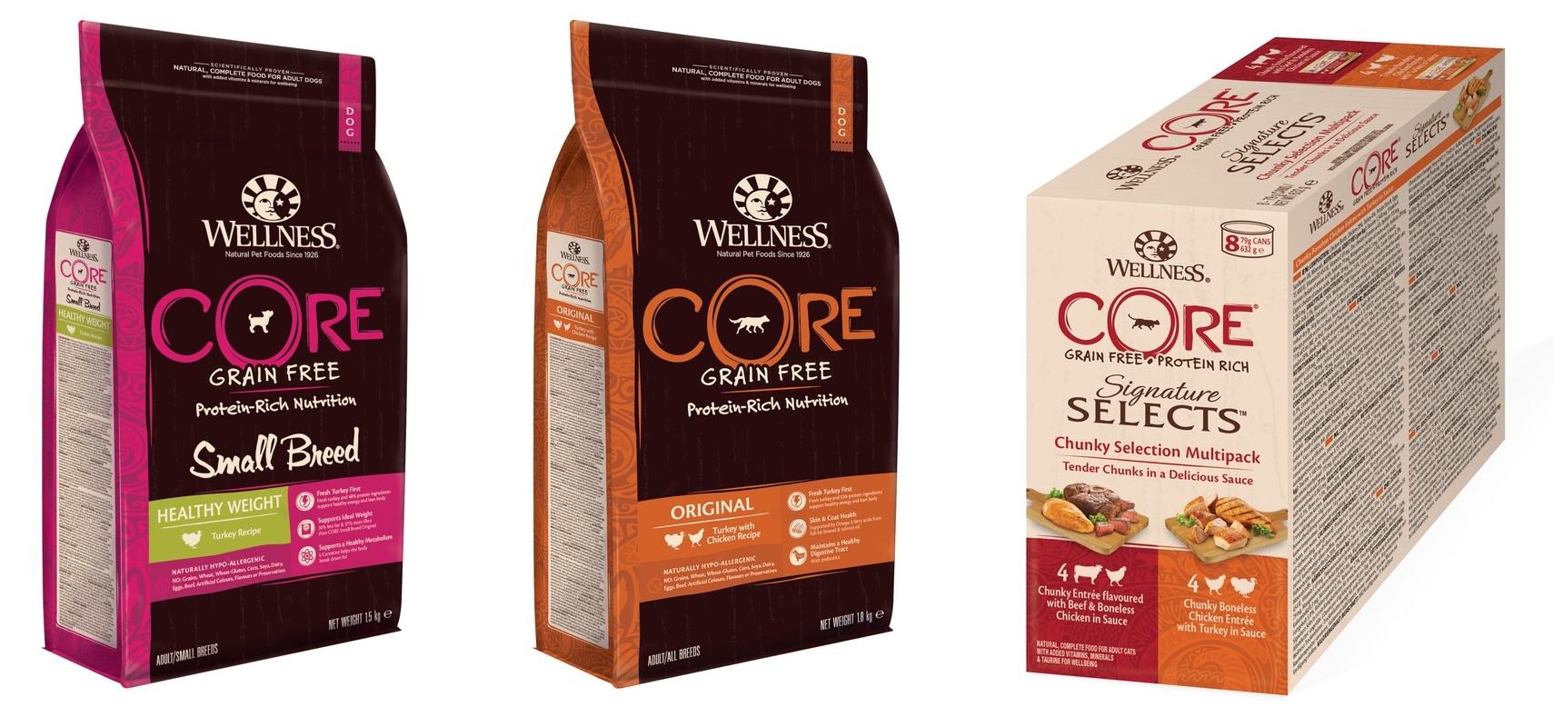 Nová kolekce Wellness Core britské společnosti WellPet pro kočky a psy. Produkty jsou bez obilovin i umělých přísad. VČesku a na Slovensku je výhradním distributorem právě Pet Center