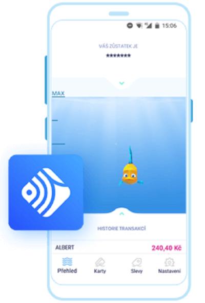 Symbolem aplikace je rybička, která zároveň slouží jako ukazatel zůstatku