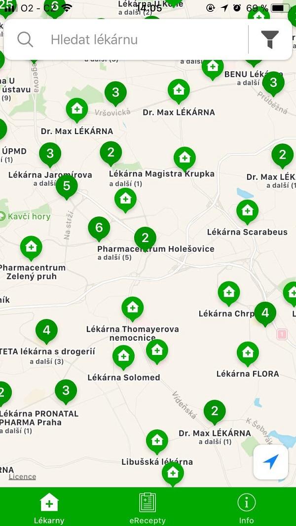 Lékárny v okolí se zobrazují na přehledné mapě