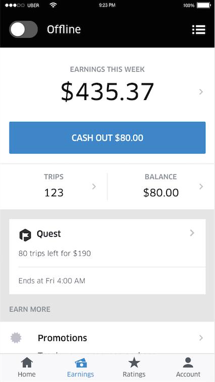 V Uber Driver mohou řidiči snadno sledovat, kolik si za dané období vydělali