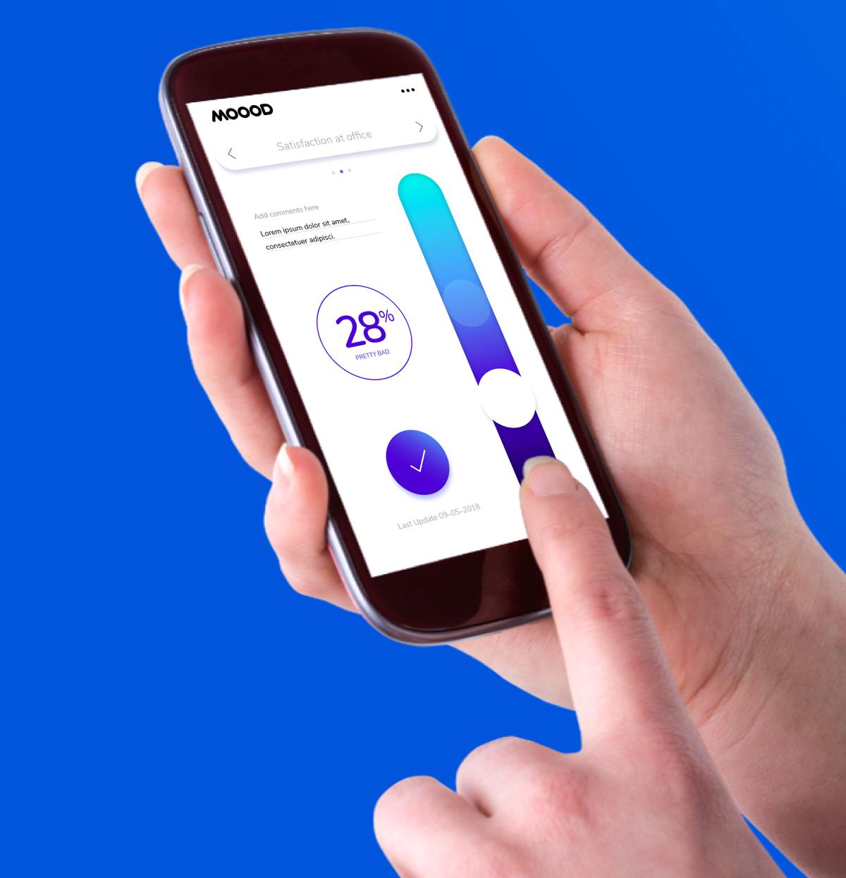 V aplikaci si uživatelé nastaví svou spokojenost na barevné škále