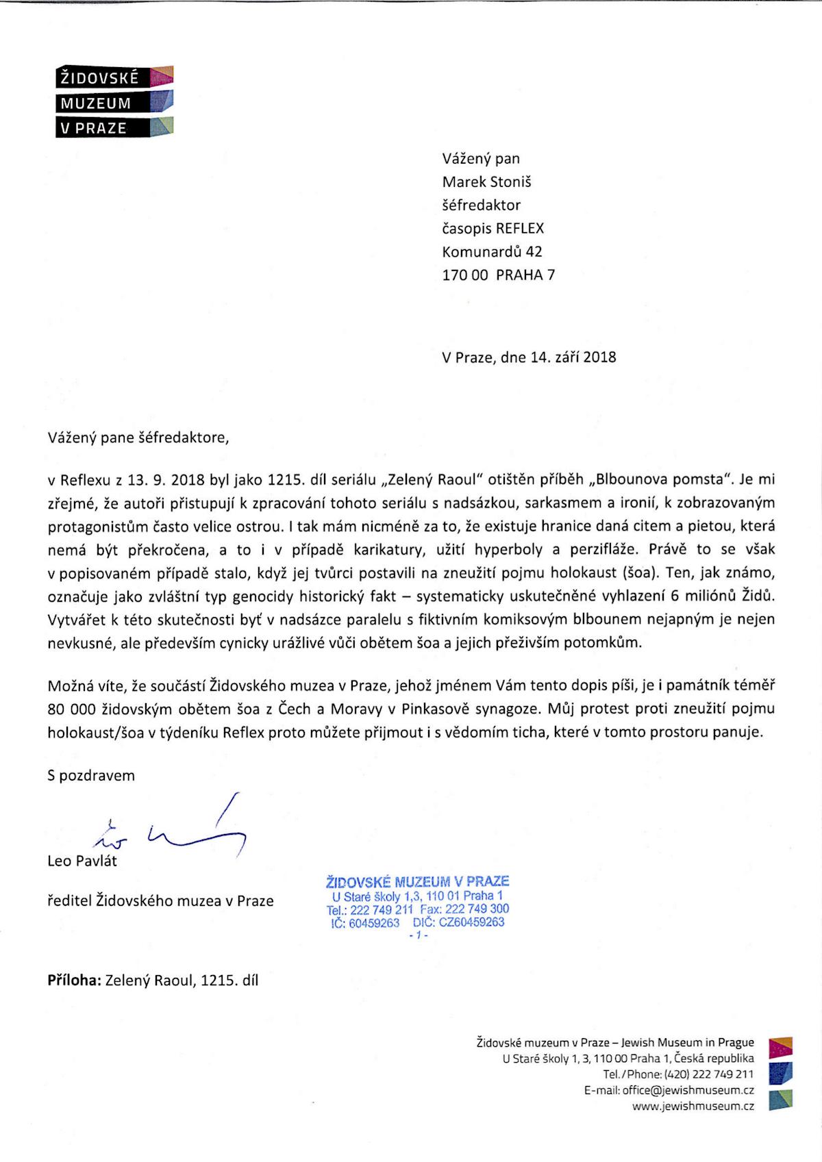 Leo Pavlát píše Marku Stonišovi. Repro: Židovské muzeum v Praze