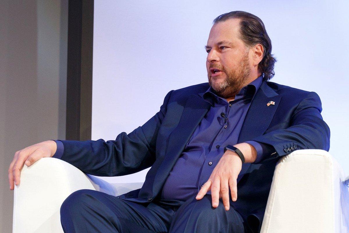 Šéf Salesforce Marc Benioff na summitu letos v dubnu v Tokiu. Foto: Profimedia.cz
