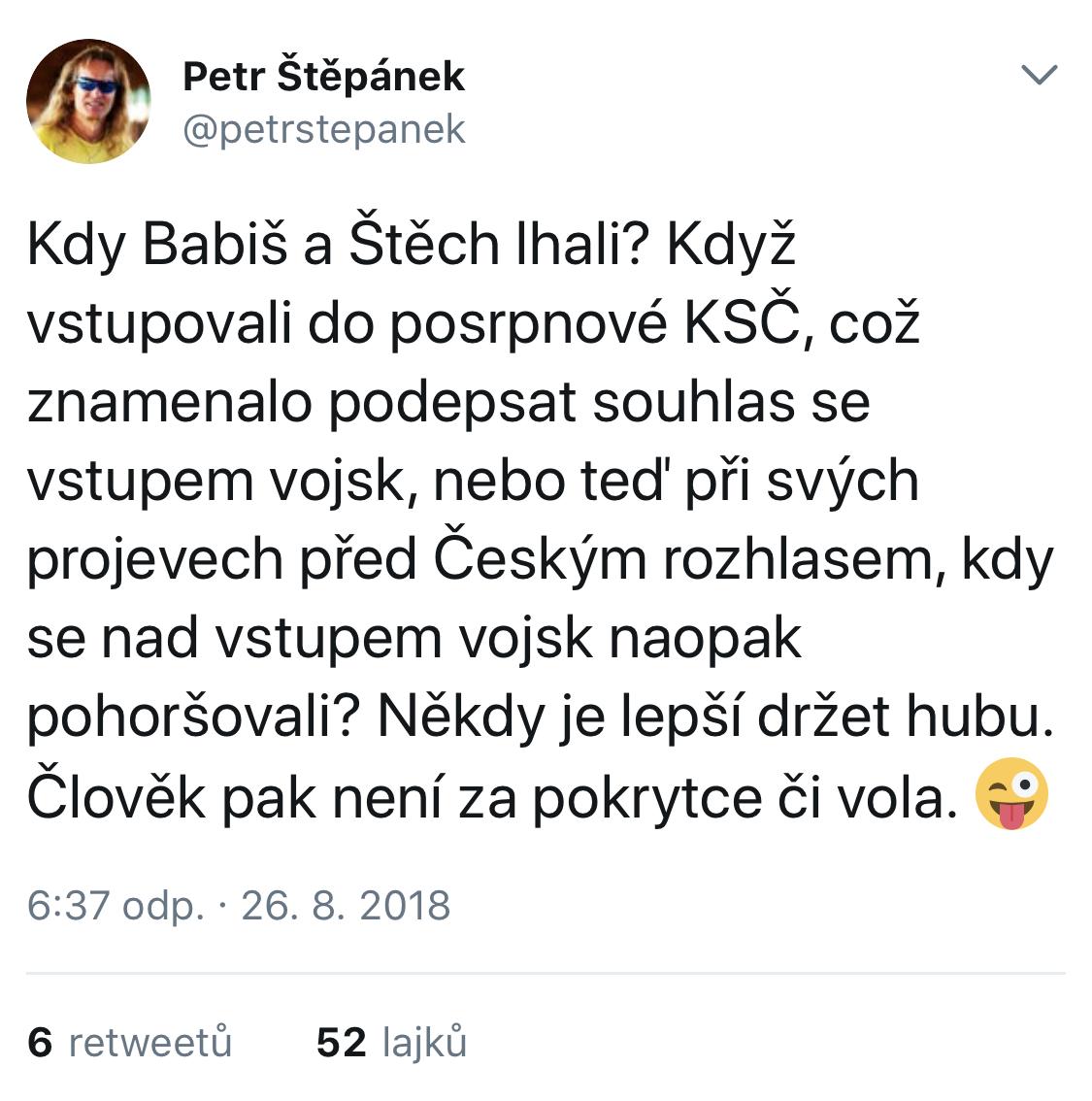 Petr Štěpánek v srpnu 2018