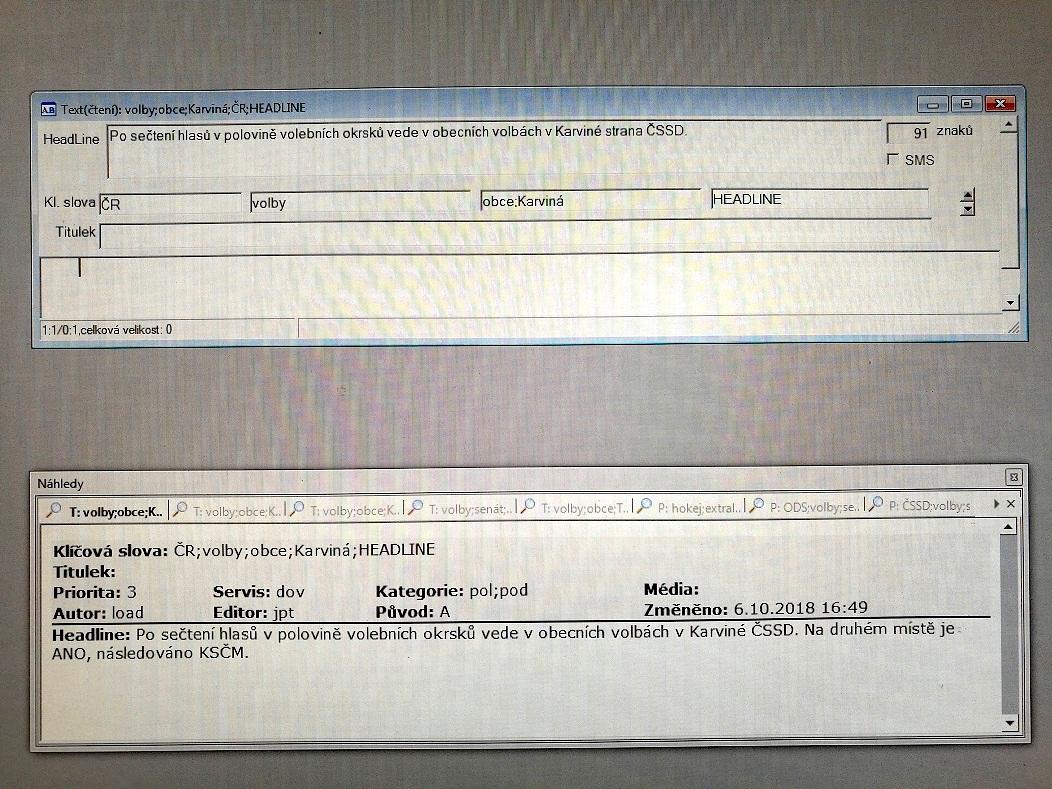 Ukázka ze systému roboticky generovaných zpráv ČTK