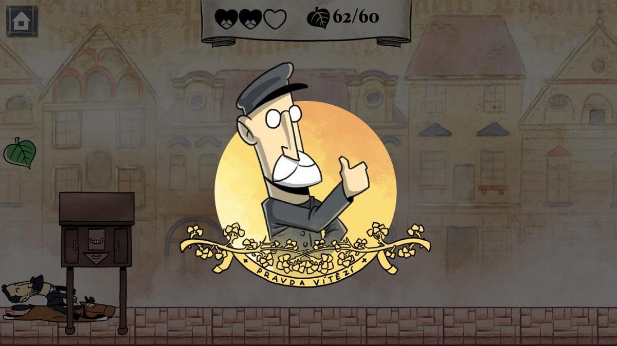 Hru provázejí úryvky historických událostí či známé výroky a symboly daného období