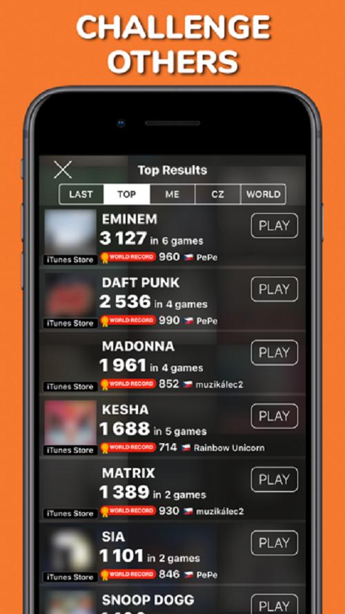 Aplikace zobrazuje přehled držitelů světových rekordů u daného interpreta