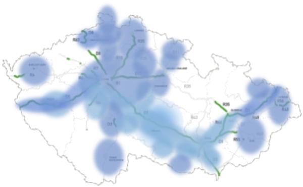 Orientační mapa pokrytí společným signálem rádií Dálnice a Hey
