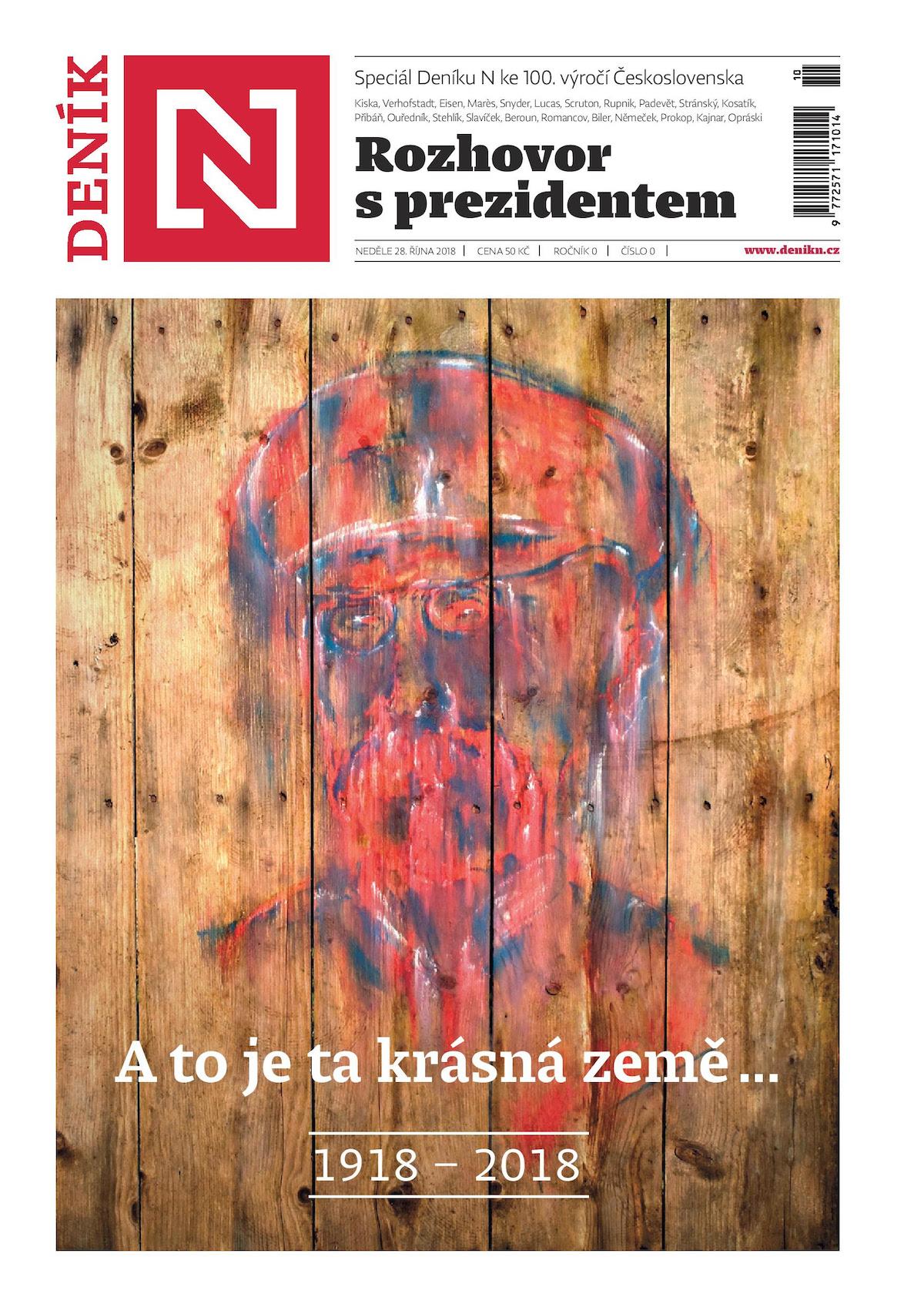Titulní strana nultého vydání Deníku N. Prezidentem je míněn Slovák Kiska