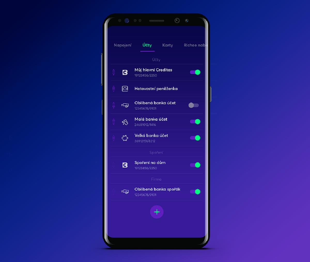 V aplikaci si lze nastavit také virtuální účet, kam si uživatel zadá informace sám