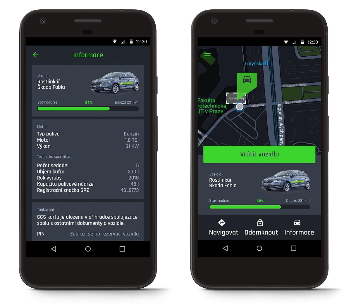 Kromě vyhledávání volných vozidel nabízí aplikace také přehled technických specifikací vozu nebo stav nádrže