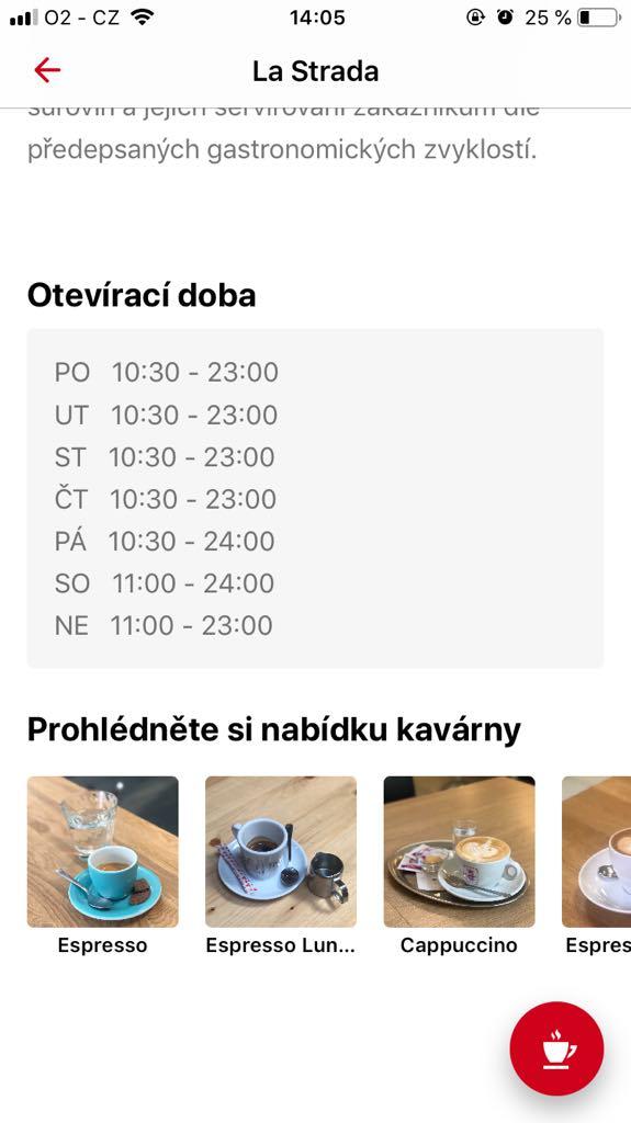 Každá kavárna nabízí přes aplikaci hned několik druhů kávy