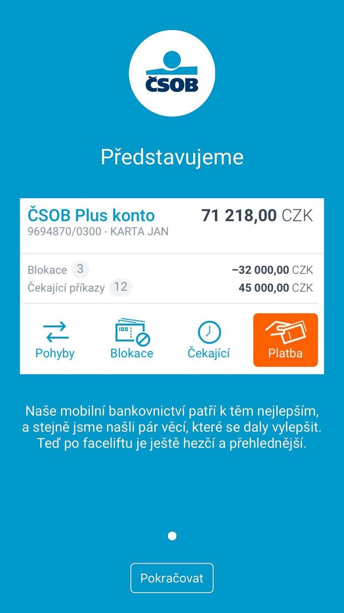 Mobilní apka ČSOB lehce upravila svůj design a přidala nové možnosti