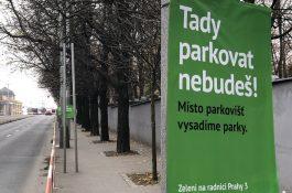 V ulicích Prahy 3 se objevila guerilla proti Zeleným