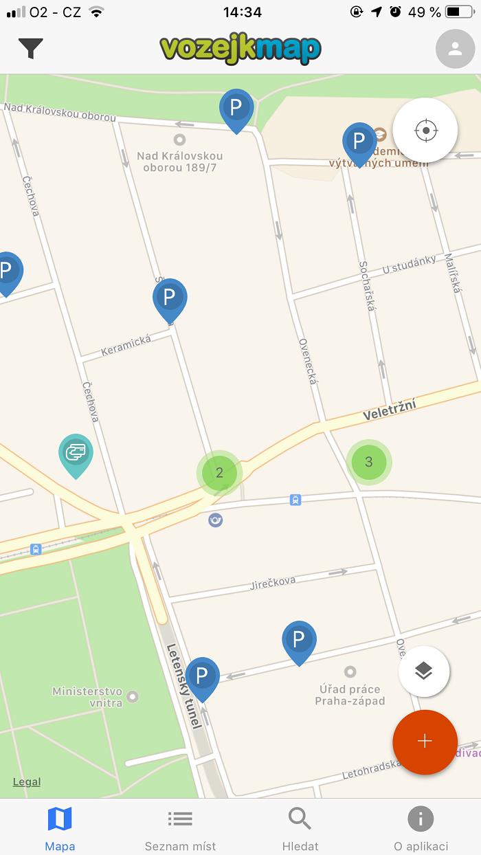 Na mapě se zobrazují jednotlivá bezbariérová místa. Ta mohou přidávat i sami uživatelé
