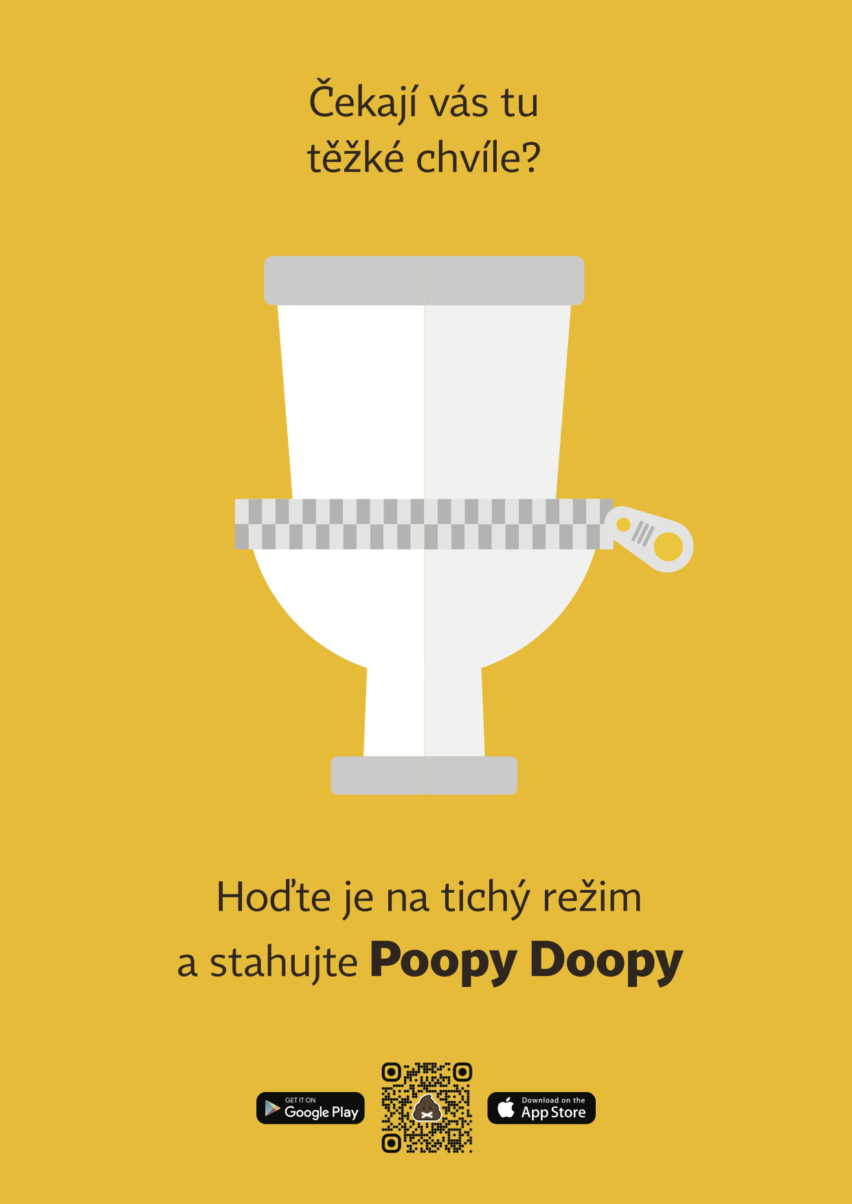 Aplikaci Poopy Doopy propaguje plakát s netradiční podobou QR kódu