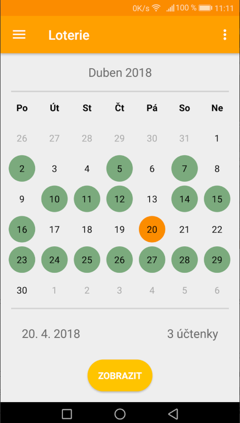 Součástí aplikace je i kalendář slosování