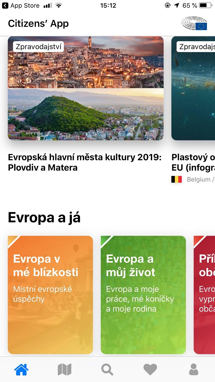 Základem Citizens' App je zpravodajství, informace o projektech v EU a přehled nejbližších akcí