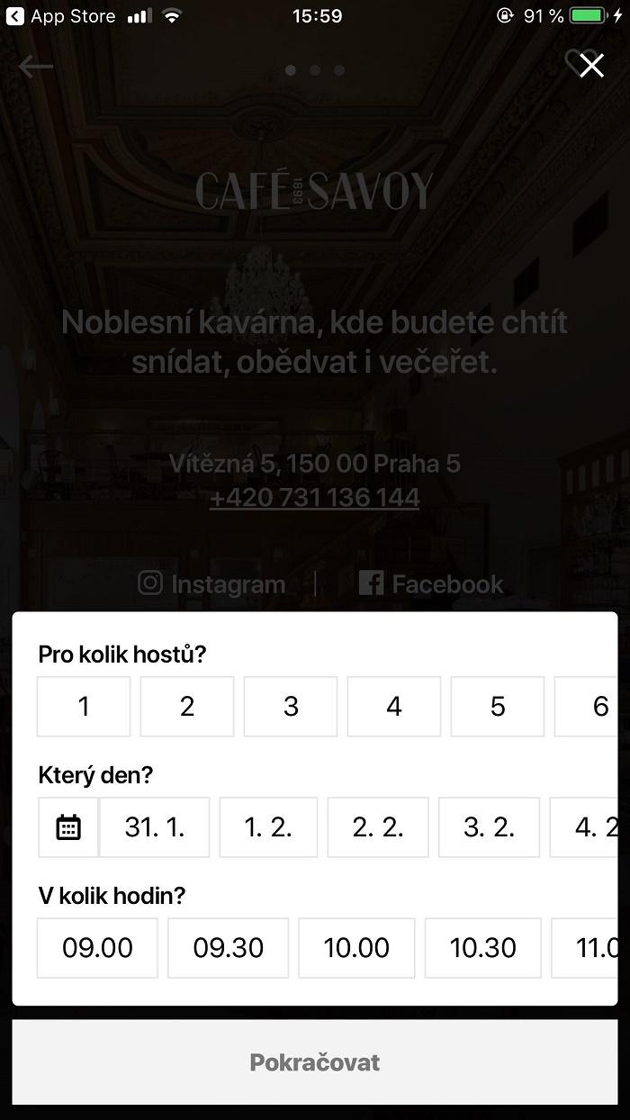 Rezervaci jde provést několika kliknutími ve formuláři