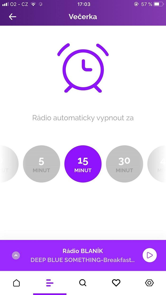 S Večerkou si uživatelé nastaví, za kolik minut se aplikace sama vypne