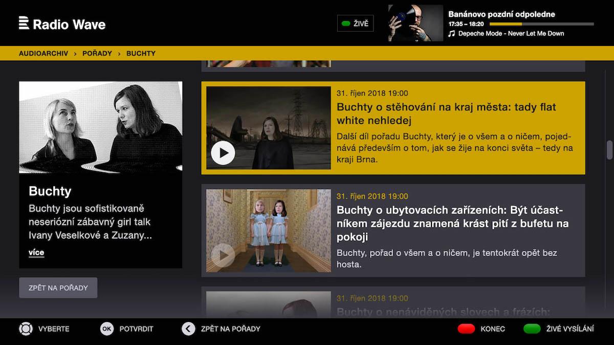 Aplikace Radia Wave pro HbbTV