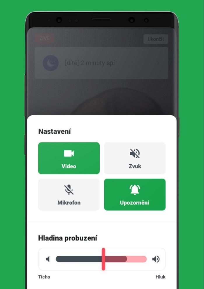Apka nabízí také notifikace o stavu dítěte i ve chvíli, kdy aplikace není spuštěná