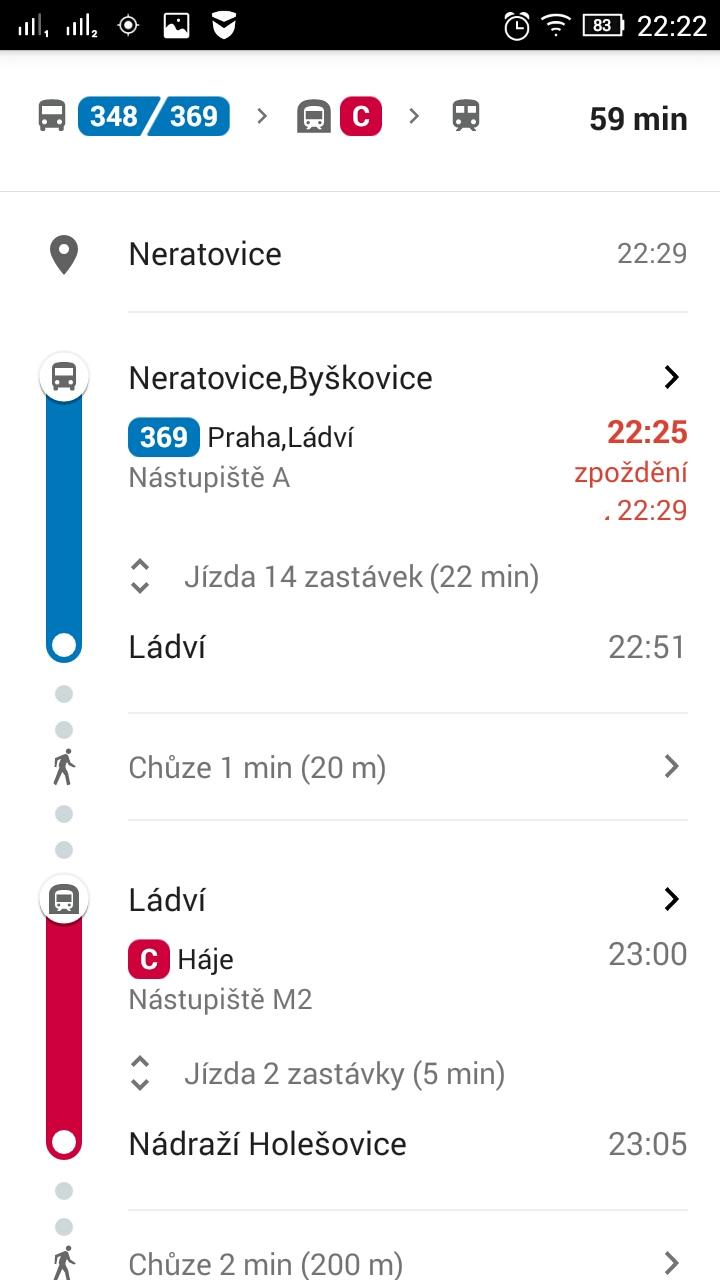 V aplikaci se také u spojů zobrazí aktuální zpoždění