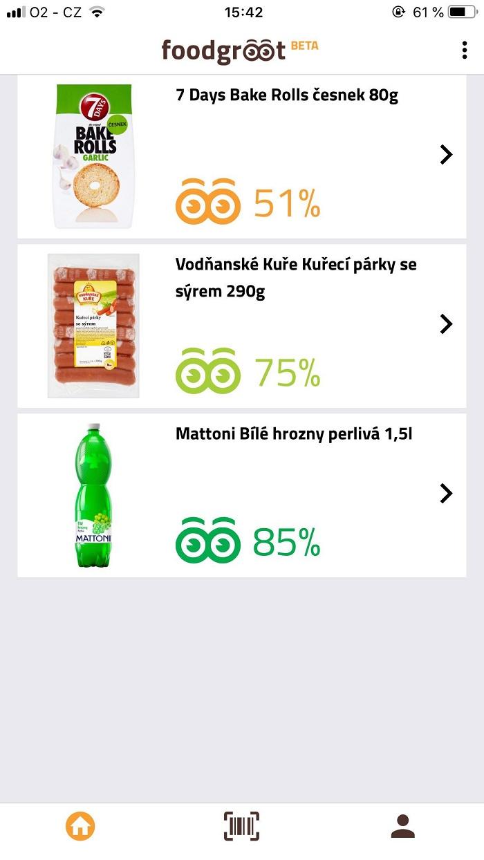 Celkové skóre potravin je zobrazeno v procentech a pomocí barevné škály. V beta verzi je možné potraviny vyhledávat zatím jen pomocí skenování kódů