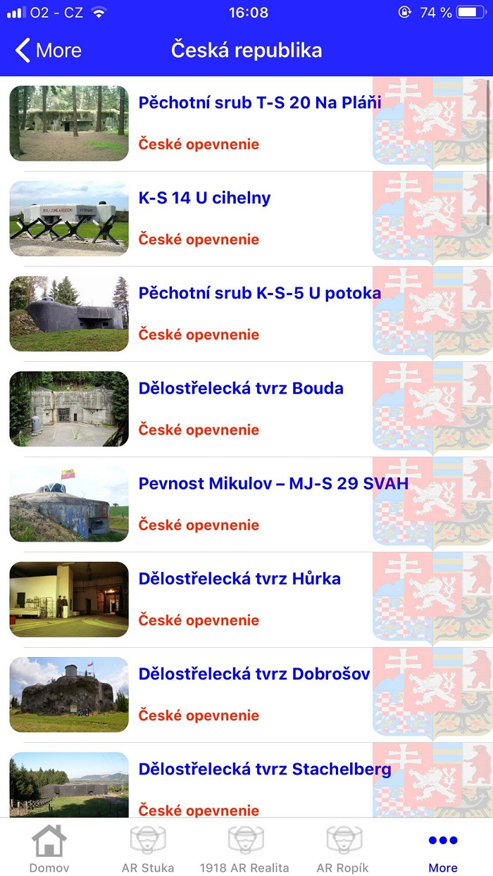 K dispozici je i seznam všech míst rozdělený podle zemí. Plně funkční je zatím jen ten český, u slovenského a ukrajinského ještě nejsou doplněny všechny informace