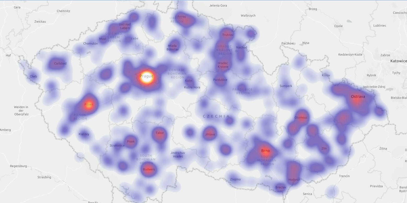 Na mapě vidíme objemy zboží, které je potřeba zavážet do jednotlivých lokalit