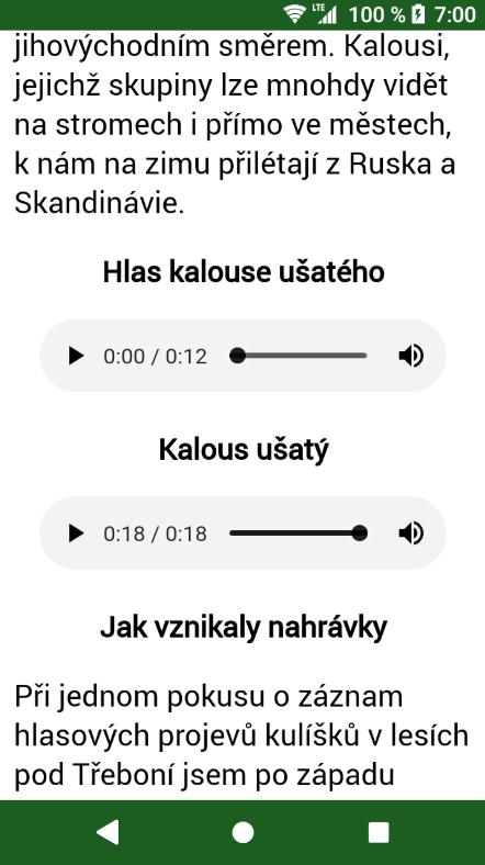 Nejzajímavější částí aplikace jsou nahrávky ptačích hlasů, které pořídil sám autor aplikace