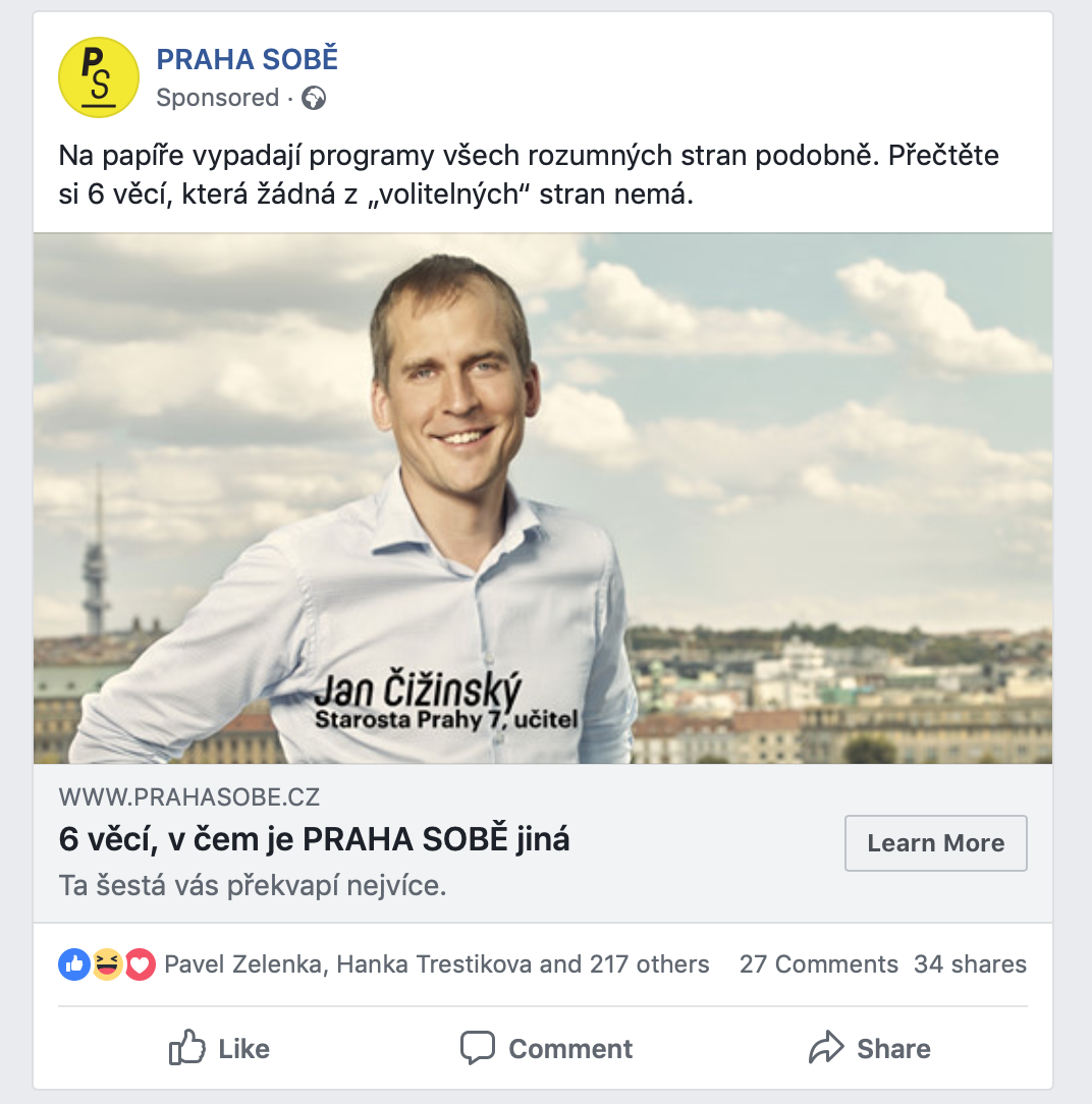 Sponzorovaný příspěvek na Facebooku od hnutí Praha sobě
