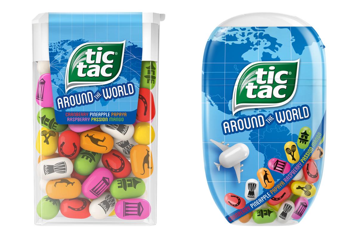Dražé Tic Tac ve dvou druzích balení limitované edice Around the World