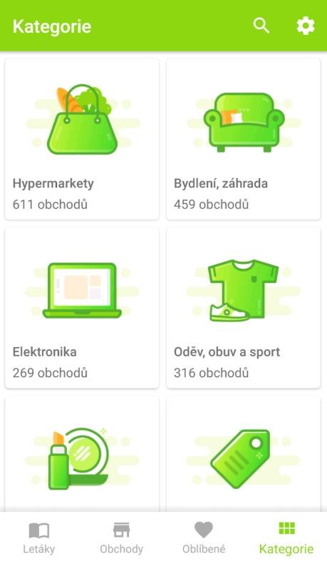 Všechny obchody jsou rozdělené do šesti kategorií, ve kterých uživatel může vyhledávat