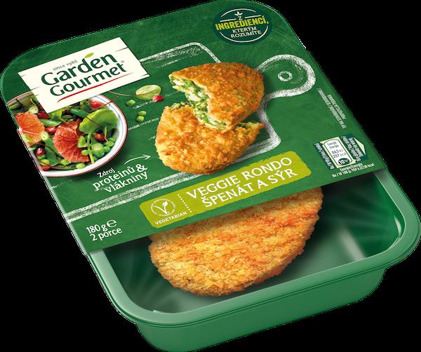Garden Gourmet vegetariánské Veggie rondo špenát a sýr (180 g) kombinuje chuť špenátu, sýra a bazalky, to vše obalené vtěstě