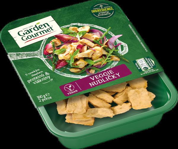 Garden Gourmet veganské Veggie nudličky (160 g) slouží jako přísada či náhrada kuřecího masa v omáčkách či salátech