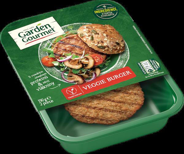 Garden Gourmet vegetariánský Veggie burger (150 g) obsahuje sójové a pšeničné proteiny