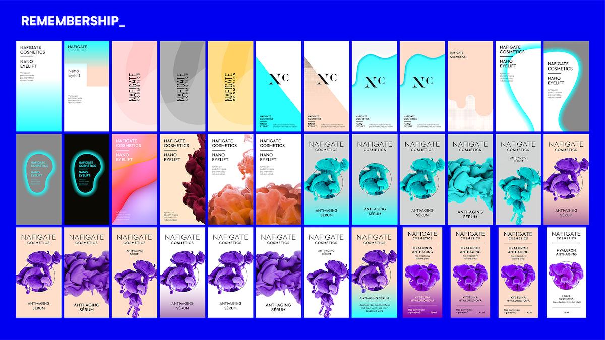 Přehled všech návrhů:9 iterací konceptu, 15 iterací krabiček a etiket & výsledky