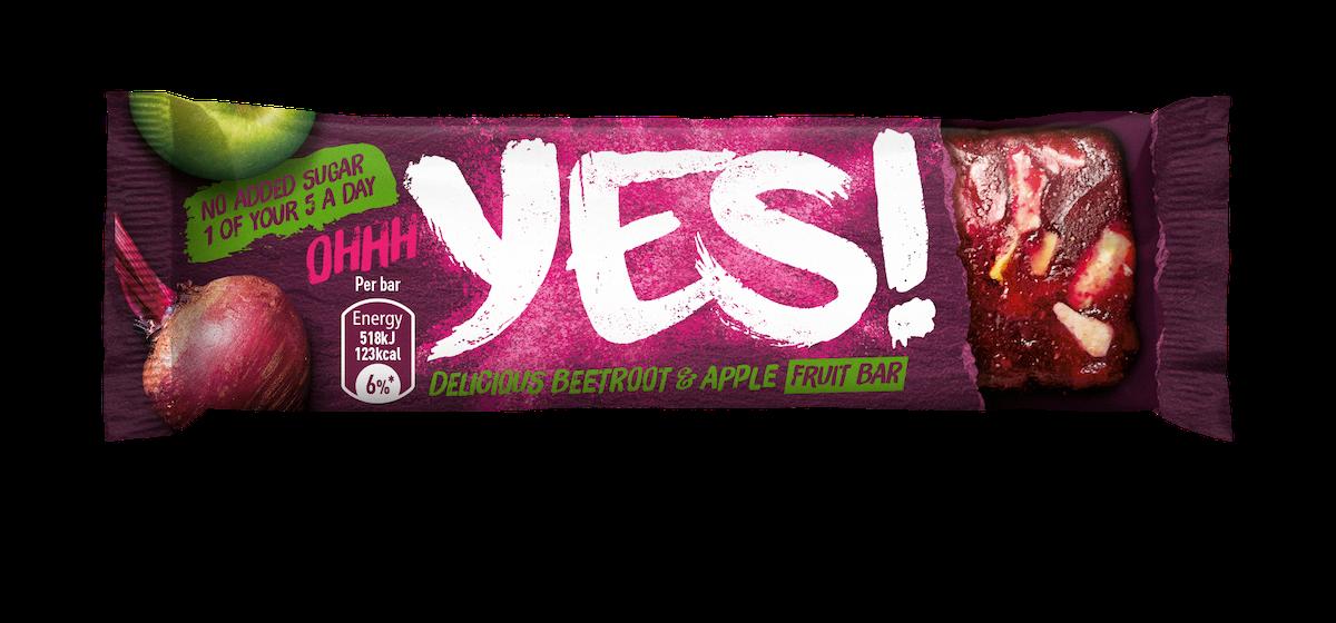 Ovocná tyčinka Yes! se zeleným jablkem, červenou řepou a mandlemi