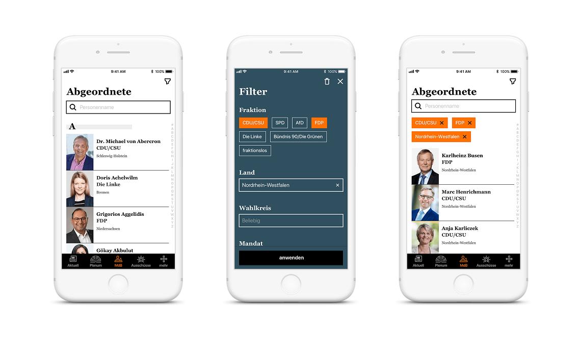 Uživatelé si v aplikaci také mohou dohledat informace o politických stranách a jejich příslušnících