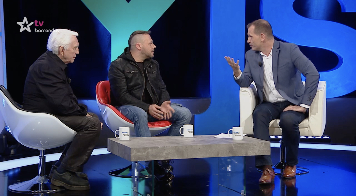 Instinkty Jaromíra Soukupa s Jiřím Krampolem a Tomášem Hnídkem. Repro: TV Barrandov